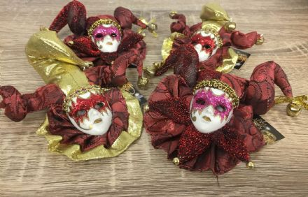 Set of 4 Jester Masquerade Wall or Tree Hanging ~ RED / BURGUNDY & GOLD